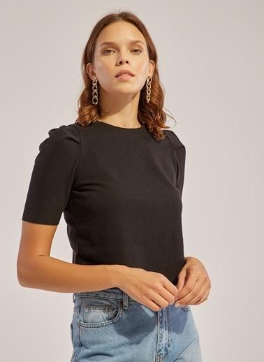 Monamoda Omuz Büzgülü Yarım Kol Selanik Bluz Siyah